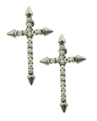 """resell for 8.00 or more Hematite Tone / Clear Rhinestone / Metal / Post / Religious / Cross Earring Set  •   WIDTH X LENGTH : 3/4"""" X 1""""  •   HEMATITE/CLEAR Style #HCCE012918g"""