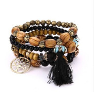 resell for 21.00 or more fit 7 to 8 inch wrist Bohemian/ wood/ multi strand/ stretch. brown/ goldtone/ tassel/ black/ tree of life Style #BWBB012918g