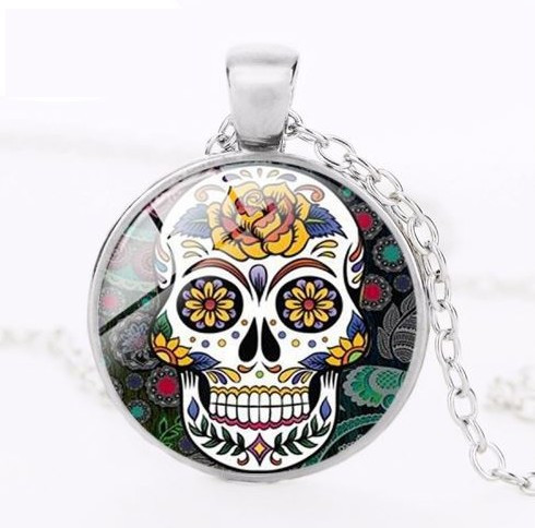 resell for 12.00 or more Sugar Skull Day of Dead Necklace Yellow Rose Skully 20 inch silvertone chain, 2 inch extender glass pendant measures approx 1 inch Style #YRDDN020118g
