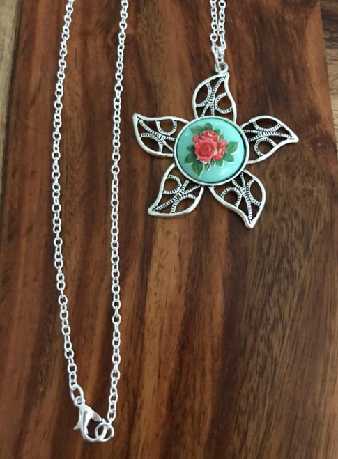 Resell for 12.00 or more 30 inch silver tone chain Pewter flower approx 1 3/4 inch  Acrylic cabochon rose Style #BCLFN020118g
