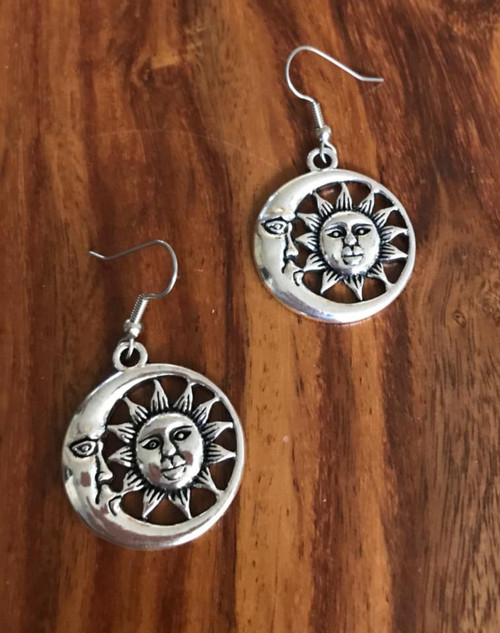 Resell for 6.00 or more Pewter sun and moon earrings Surgical steel ear wires Style #SMRE020218g