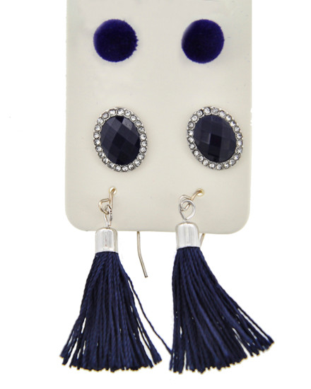 resell for 27.00 or more Silver  Tone / Clear Rhinestone & Navy Acrylic / Navy Velvet & Thread / Lead&nickel Compliant / Fish Hook & Post / Dangle & Button / Tassel / 3pair Earring Set / Packed Item Per Card  •   assort   •   SOLVER/BLACK Style #NBSES020518g
