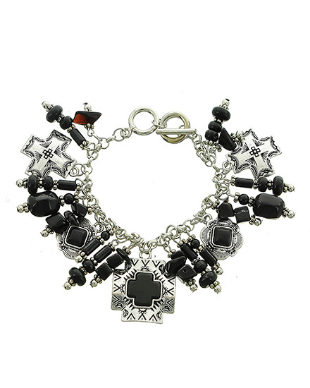 """resell for 20.00 or more Burnished Silver Tone / Black Stone & Acrylic / Lead Compliant / Metal / Toggle Closure / Western Theme / Cross Charm / Bracelet/ •   LENGTH : 8"""" - 8 1/2""""  •   SILVER/BLACK Style #BWCB020618g"""
