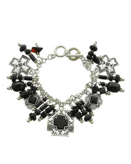 "resell for 20.00 or more Burnished Silver Tone / Black Stone & Acrylic / Lead Compliant / Metal / Toggle Closure / Western Theme / Cross Charm / Bracelet/ •   LENGTH : 8"" - 8 1/2""  •   SILVER/BLACK Style #BWCB020618g"