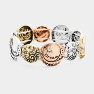 """resell for 45.00 or more • Color : Multi • Theme : Message  • Size : 0.8"""" H • Stretchable • Material : Lead and nickel compliant • """"Dream Hope"""" Moon Ocean Wave Metal Disc Stretch Bracelet Style #DHSB020618g"""