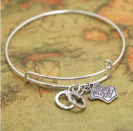 resell for 12.00 or more fits 7 to 8 inch wrist Hand Cuffs and Police Badge. Bangle Bracelet/ Cuff  Pewter Style #PBHCBB020718g