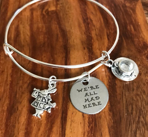 Fits 7 to 8 inch Pewter rabbit, tea cup  We're all mad here! Alice in Wonderland inspired Style #WAMBB020718g