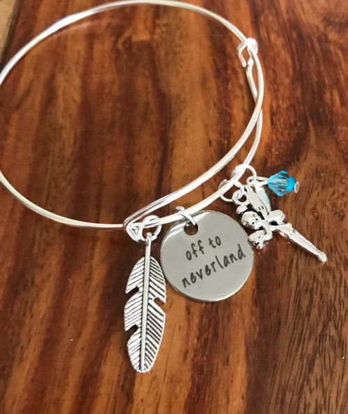 Resell for 12.00 or more Fits 7 to 8 inch wrist Pewter Feather, fairy, crystal Off to Neverland Peter Pan inspired Style #OTNBB020718g