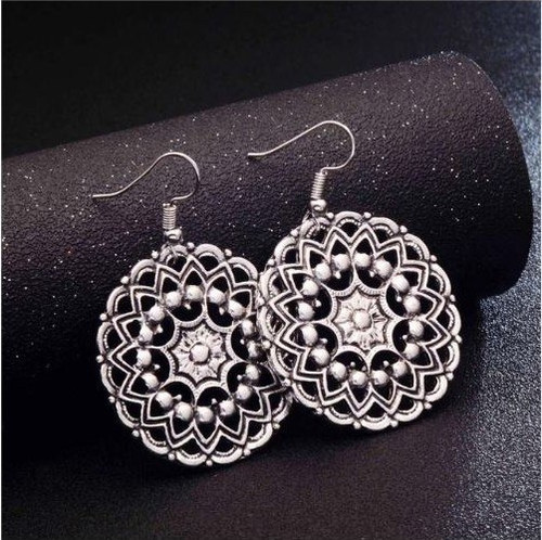 resell for 9.00 or more 1.5 inch round pewter ornate disc surgical steel ear wires boho chic Style #RBCE020818g