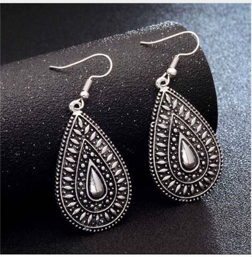 resell for 9.00 or more Pewter Teardrop 1.5 inches surgical steel ear wires boho chic Style #BCTE020818g
