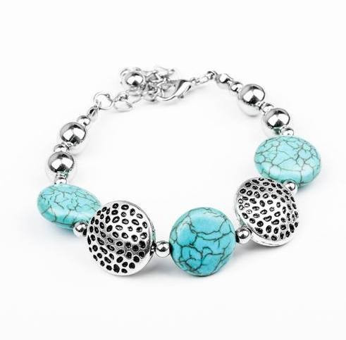 resell for 12.00 or more  6.5  inch plus 2 inch  ext chain pewter with turquoise magnesite round Style # TMRPB020918g