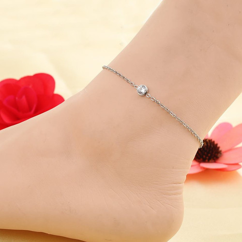 """resell for 15.00 or more Stainless Steel Anklet Silver Tone Round Clear Rhinestone 24cm(9 4/8"""") long plus ext Style #SCCAB021318g"""