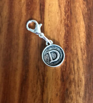Resell for 6.00 or more Lobster clasp bauble  Aprox 12 mm  Pewter charm letter D Style #LDB021418g