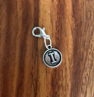 Resell for 6.00 or more Lobster clasp bauble  Aprox 12 mm  Pewter charm letter I Style #LIB021418g