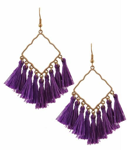 "resell for 27.00 or more Worn Gold Tone / Purple Thread / Lead Compliant / Fish Hook / Chandelier / Tassel Dangle / Earring Set  •   WIDTH X LENGTH : 1 1/4"" X 3""  •   GOLD/PURPLE Style #PTGE021918g"