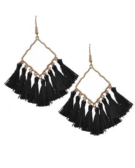 """resell for 27.00 or more Worn Gold Tone / Black Thread / Lead Compliant / Fish Hook / Chandelier / Tassel Dangle / Earring Set  •   WIDTH X LENGTH : 1 1/4"""" X 3""""  •   GOLD/BLACK Style #BTGE021918g"""