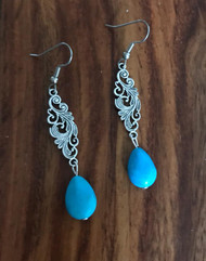 Resell for 6.00 or more Pewter drop with reconstituted turquoise Surgical steel ear wires Style #TDPOE021918g