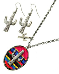 """resell for 30.00 or more Burnished Silver Tone / Multi Color Fabric / Lead Compliant / Metal / Fish Hook (earrings) / Western Theme / Cactus Pendant / Necklace & Earring Set  •   LENGTH : 17"""" + EXT •   PENDANT : 1 1/4"""" X 1 5/8"""" •   EARRING : 5/8"""" X 1 7/8""""  •   SILVER/MULTI Style #PCNS022018g"""