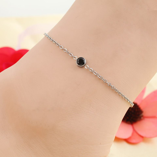 "resell for 15.00 or more Stainless Steel Anklet Silver Tone Round Black Rhinestone 23cm(9"") long plus ext Style #BCAB022318g"