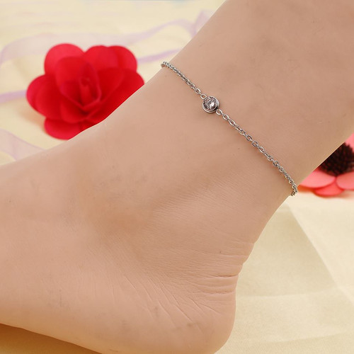 "resell for 15.00 or more Stainless Steel Anklet Silver Tone Round Champagne Rhinestone 23cm(9"") long plus ext Style #CCAB022318g"
