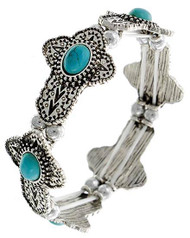 """resell for 30.00 or more Burnished Silver Tone / Turquoise Stone / Lead Compliant / Religious / Cross / Stretch / Bracelet / •   SIZE FREE : STRETCH •   WIDTH : 3/4""""  •   SILVER BURNISH/LIGHT BLUE Style #TMSCB022718g"""