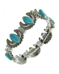 "resell for 30.00 or more Burnished Silver Tone / Turquoise Stone/ Lead Compliant / Stretch / Bracelet / •   SIZE FREE : STRETCH •   WIDTH : 1/2""  •   B.SILVER/TURQUOISE Style #TSWSB022718g"