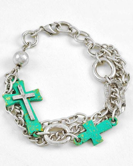 """resell for 35.00 or more Burnished Silver Tone / Lead Compliant / Patina Metal / Cross / Multi Row / Lobster-claw / Bracelet / •   LENGTH : 8 3/4"""" •   WIDTH : 1 1/2""""  •   B.SILVER/PATINA Style # PCSTB030118g"""