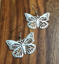 Resell for 6.00 or more Laser lace butterfly 1 4/8 x 1 inch Surgical steel ear wires Style #LLBE030918g