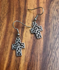 Resell for 6.00 or more Pewter cross 1/2 x 3/4 inch Surgical steel ear wires Style #CE030918g