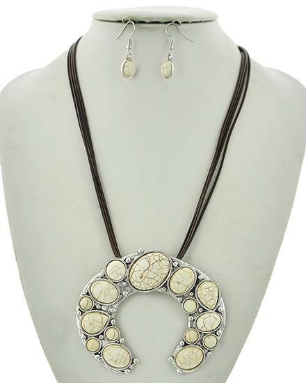 """resell for 24.00 or more Burnished Silver Tone / White Magnesite / Dark Brown Cord / Lead Compliant / Fish Hook (earrings) / Western Theme / Multi Strand / Pendant / Necklace & Earring Set /  •   LENGTH : 18"""" + EXT •   PENDANT : 3 1/2"""" X 2 3/4"""" •   EARRING : 3/8"""" X 1 1/4""""  •   SILVER/IVORY Style #WMSNS031218g"""