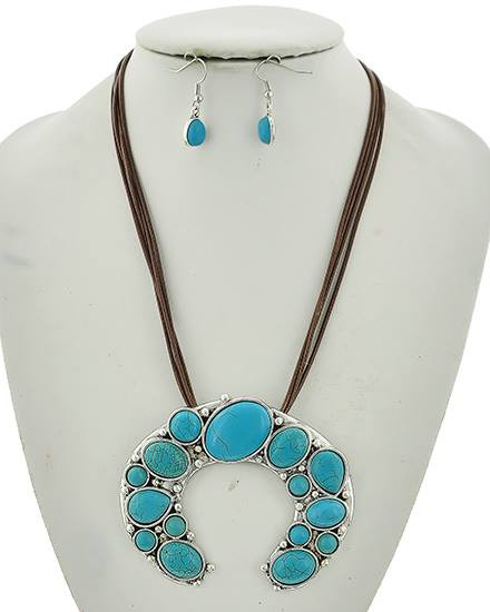 """resell for 24.00 or more Burnished Silver Tone / Turquoise Stone / Brown Cord / Lead Compliant / Fish Hook (earrings) / Western Theme / Multi Strand / Pendant / Necklace & Earring Set /  •   LENGTH : 18"""" + EXT •   PENDANT : 3 1/2"""" X 2 3/4"""" •   EARRING : 3/8"""" X 1 1/4""""  •   SILVER/L.BLUE Style #TMHSNS031218g"""