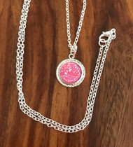 Resell for 9.00 or more Pink drusy resin  24 inch silver tone chain Style #PDN031218g
