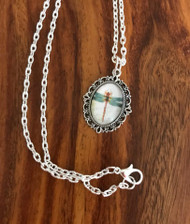 Resell for 12.00 or more 20 inch silver tone chain  Dragonfly cabochon on pewter 1 1/8 inch long Style #DFFN031218g