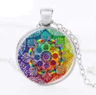 resell for 12.00 or more 20 inch silver tone chain Mandala Glass Dome Style #BMN031518g