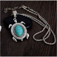 resell for 9.00 or more 19 inch silver tone chain Turtle is pewter with turquoise magnesite stone 1.2 inches long Style #TMTN031518g