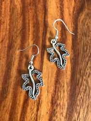"Resell for 6.00 or more Pewter ornate leaf  1"" x 5/8"" Surgical steel ear wires Style #OLE031618g"