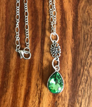18 inch figaro chain Pewter flower connector  Green crystal teardrop  Pendant is approx 1.5 inches Style #GCDN031618g