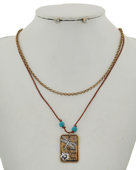 """resell for 27.00 or more Burnished Gold Tone / Brown Cord & Lt.blue Acrylic / Lead Compliant / Post (earrings) / Message / Dragonfly & Flower / Layer / Necklace & Earring Set  •   LENGTH : 16"""" + EXT •   PENDANT : 3/4"""" X 1 1/4"""" •   EARRING : 1/4"""" DIA  •   GOLD Style #DFBCN032018g"""