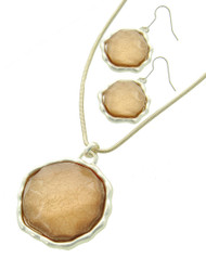 """resell for 27.00 or more Matte Silver Tone / Natural Acrylic / Lead&nickel Compliant / Metal / Fish Hook (earrings) / Pendant / Necklace & Earring Set /  •   LENGTH : 18"""" + EXT •   PENDANT : 2"""" X 2 1/2"""" •   EARRING : 1 1/4"""" X 2""""  •   SILVER/L.PEACH Style #FNNS032018g"""