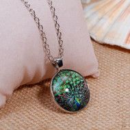 """resell for 12.00 or more Necklace Silver Tone Green Round Peacock 51.5cm(20 2/8"""") long Style #GPN032218g"""