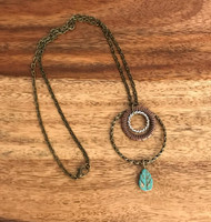 Resell for 12.00 or more 20 inch antiqued brass chain  Copper, pewter and brass hoops Turquoise magnesite carved leaf Style #BMMTLN032218g