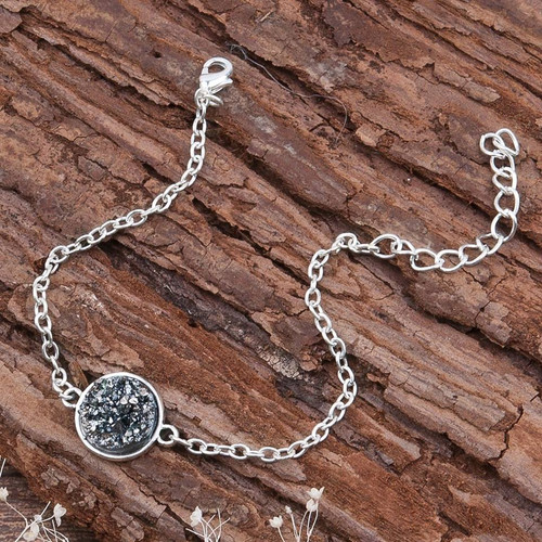 """resell for 6.00 or more Resin Druzy /Drusy Bracelets Silver Plated & Antique Silver Hematite Grey  Round Glitter 17cm(6 6/8"""") long Style #HDB032318g"""