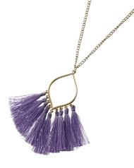 "resell for 27.00 or more Gold Tone / Purple Thread / Lead&nickel Compliant / Metal / Tassel Long Necklace  •   LENGTH : 30 1/2"" + EXT •   PENDANT : 2 1/2"" X 3 1/4""  •   PURPLE  Style #PTGTN032618g"