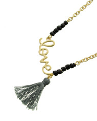"resell for 27.00 or more Gold Tone / Black Seed Beads / Grey Thread / Lead Compliant / Metal / Valentine's Day / Love W/tassel Charm / Necklace / •   LENGTH : 16"" + EXT •   PENDANT : 1"" X 1 1/4"" •   CHARM : 1 1/4""  •   GOLD/BLACK  Style #GTLTN032618g"