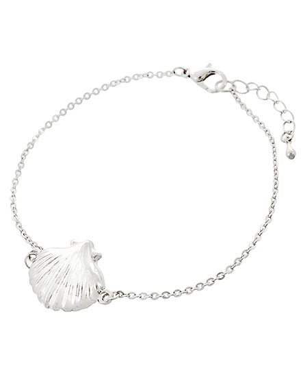 """resell for 12.00 or more Silver Tone / Lead Compliant / Metal / Lobster-claw / Sea Life / Shell Bracelet / •   LENGTH : 8"""" + EXT •   TOP FACE : 3/4""""  •   SILVER  Style #STSSB032618g"""