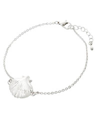 "resell for 12.00 or more Silver Tone / Lead Compliant / Metal / Lobster-claw / Sea Life / Shell Bracelet / •   LENGTH : 8"" + EXT •   TOP FACE : 3/4""  •   SILVER  Style #STSSB032618g"