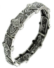 """resell for 12.00 or more Antique Silver Tone / Lead Compliant / Metal / Stretch / Bracelet /  •   SIZE FREE : STRETCH •   WIDTH : 5/8""""  •   SILVER  Style #SWSB032718g"""