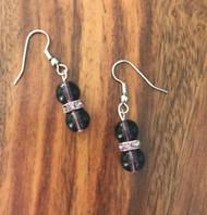 Resell for 9.00 or more Purple glass/ pewter purple crystal disc  Surgical steel ear wires Style #PCDE032718g
