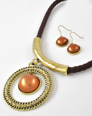 """resell for 27.00 or more Antique Gold Tone / Brown Leatherette Cord & Synthetic Pearl / Lead&nickel Compliant / Round Pendant Necklace & Fish Hook Earring Set /  •   LENGTH : 17 1/2"""" + EXT •   PENDANT : 3 1/8"""" L •   EARRING : 1 3/4"""" L  •   A.GOLD/BROWN  Style #BCGPNS040218g"""
