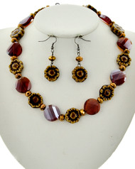 "resell for 27.00 or more Hematite Tone / Brown Glass & Ceramic / Lead&nickel Compliant / Fish Hook (earrings) / Flower / Necklace & Earring Set /  •   LENGTH : 16 1/2"" + EXT •   EARRING : 5/8"" X 2"" •   DROP : 3/4""  •   HEMATIES/BROWN  Style #HBGNS040218g"